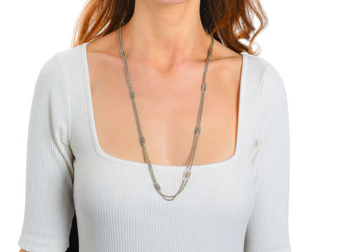 French Silver Long Chain with Marquise Shapes