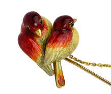 Enamel Love Birds & Egg Edwardian Brooch Stick Pin