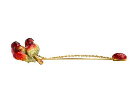 Enamel Love Birds & Egg Edwardian Brooch Stick Pin