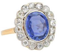 Eco Friendly Sapphire Diamond Halo Ring