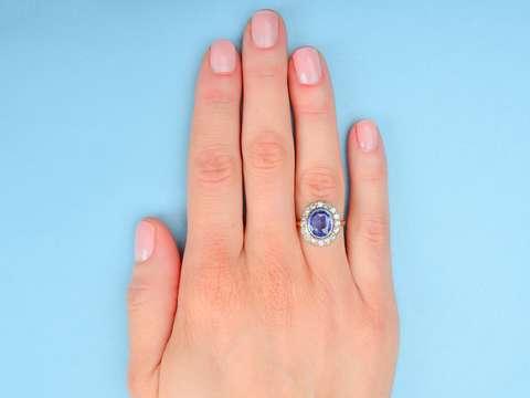 Eco Friendly Sapphire Diamond Halo Ring