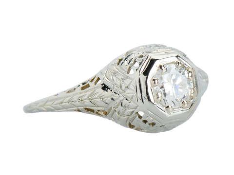 Filigree Finesse - Vintage Diamond Engagement Ring