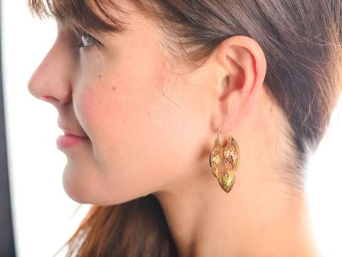 Fecundity - Victorian Antique Three Color Earrings