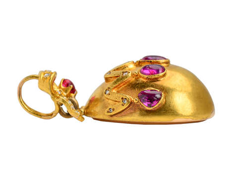 Victorian Ruby Egg & Bow Pendant Locket