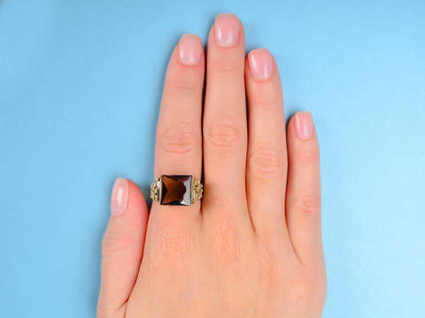 Swedish Modernist Smoky Quartz Vermeil Ring