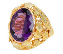 Art Nouveau Amethyst Grape Motif Ring