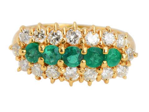 Five Stone Emerald Diamond Ring