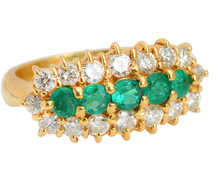 Five Stone Emerald Diamond Ring
