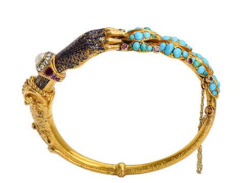 Exceptional Antique Gem & Diamond Hand Bracelet