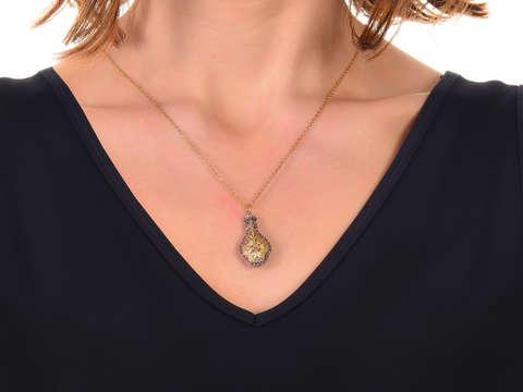 Georgian Ruby Diamond Floral Pendant