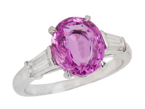 Pink Passion - Sapphire Diamond Baguette Ring