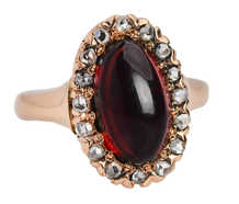 Antique Garnet Oval Cluster Ring