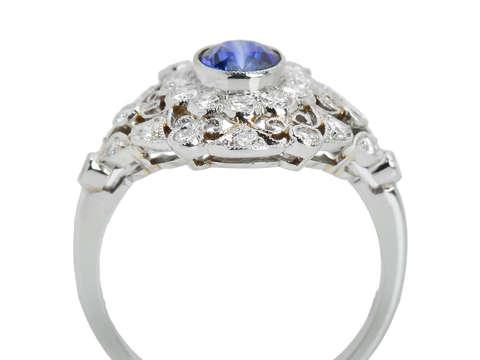Sapphire Diamond Lacy Filigree Ring