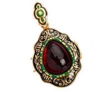 Victorian Garnet Enamel Locket of Sept 21