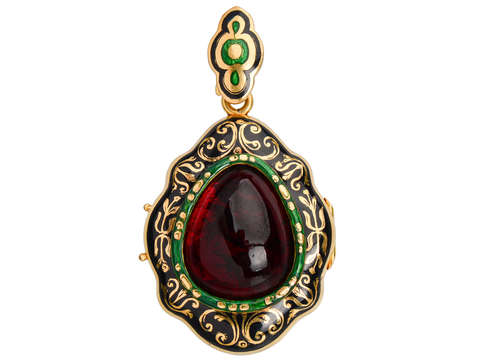 Victorian Garnet Enamel Locket of Sept 21