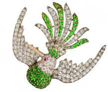 Antique Russian Demantoid Garnet Bird Brooch
