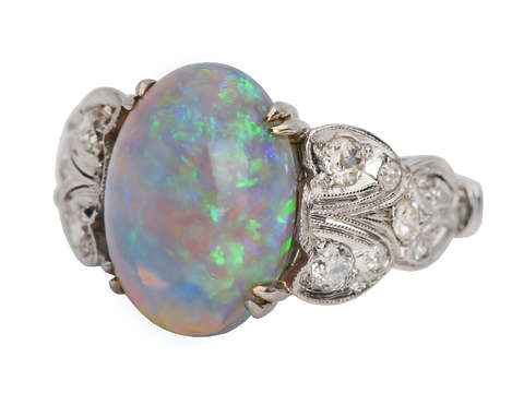 Color Symphony - Australian Opal Diamond Ring