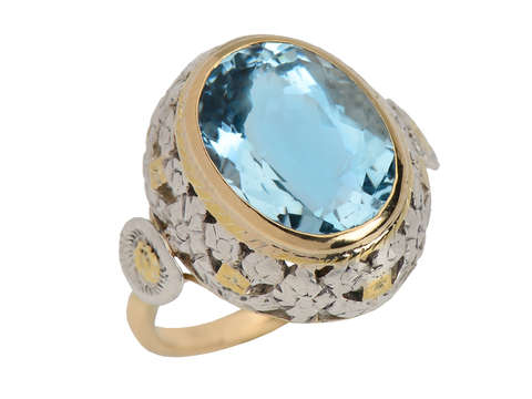Aquamarine Dazzle in White & Yellow Gold