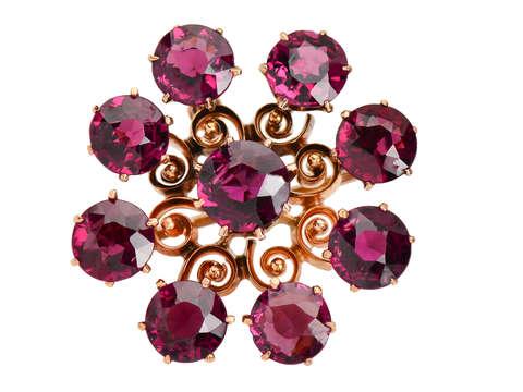 Garnet Burst - Pendant Brooch in Rose Gold