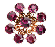 Garnet Burst - Pendant Brooch in Rose Gold