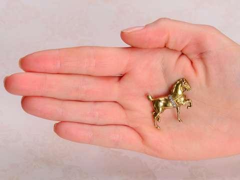 Sloan & Co. Gold & Diamond Horse Brooch