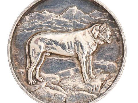 1928 St. Bernard Dog Pendant of Silver