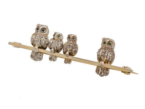 Antique Diamond Owl Family Brooch
