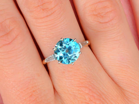 Blue Blazes - Zircon Vintage Diamond Ring