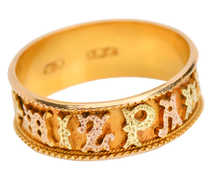 Victorian Ornate Three Color Gold Mizpah Ring