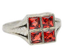 On the Square - Garnet White Gold Ring