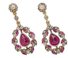 Edwardian Inspired Ruby Diamond Earrings