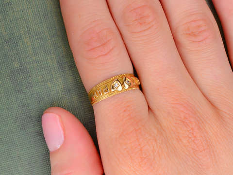 Two Hearts as One - Antique Mizpah Ring of 1896