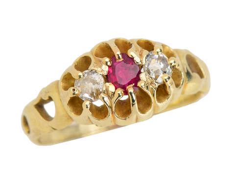 Ruby Three Stone Diamond Ring