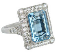 Aquamarine Rectangular Diamond Halo Ring
