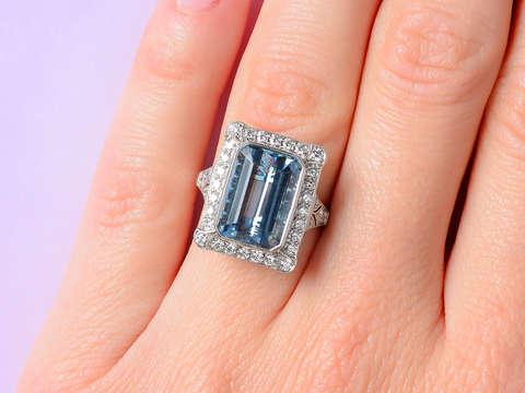 Aquamarine Rectangular Diamond Halo Ring