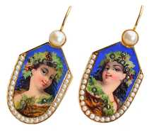 Celebration - Antique Enamel Portrait Earrings
