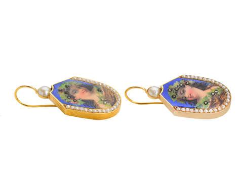 Celebration - Antique Enamel Portrait Earrings