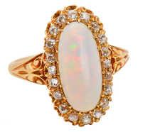 Antique Australian Opal Diamond Halo Ring