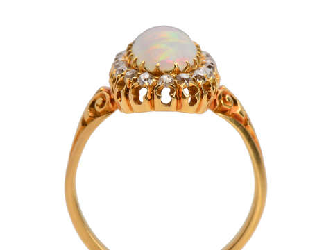Antique Australian Opal Diamond Halo Ring