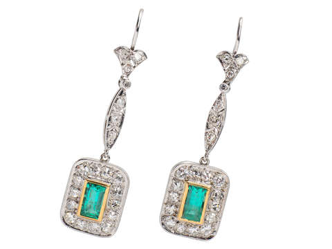 Emerald Diamond Dangle Earrings
