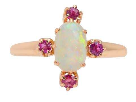 Antique Australian Opal Ruby Ring