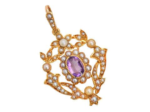 Edwardian Sweet - Amethyst Pearl Pendant