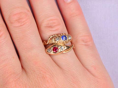 Ssssensational Ruby Sapphire Snake Ring
