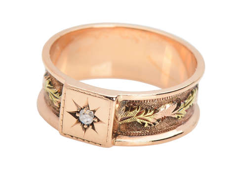 Antique Two Colored Gold Diamond Wedding Band
