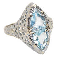 Ethereal Beauty - Aquamarine Filigree Vintage Ring