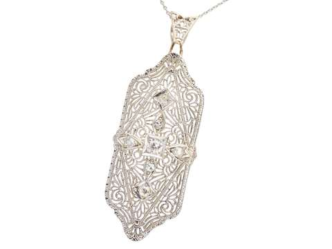 Art Deco Filigree Vintage Diamond Pendant