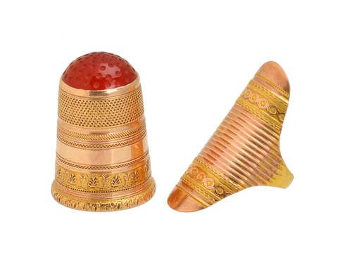 Boxed Georgian Thimble & Ring Guard