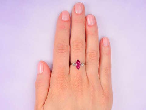 Sleek Marquise Ruby Diamond Ring