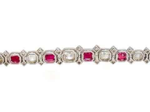 Superlative Burmese Ruby Diamond Bracelet