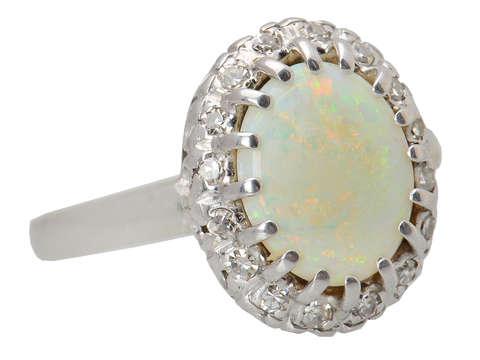 Australian Opal Diamond Halo Ring